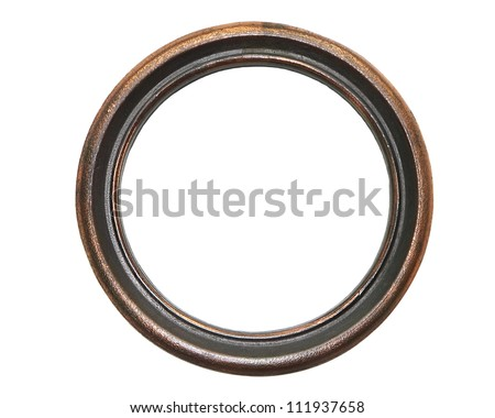 Vintage copper round  frame isolated on white background - stock photo