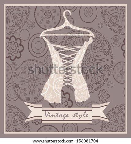 Vintage corset. Postcard. - stock photo