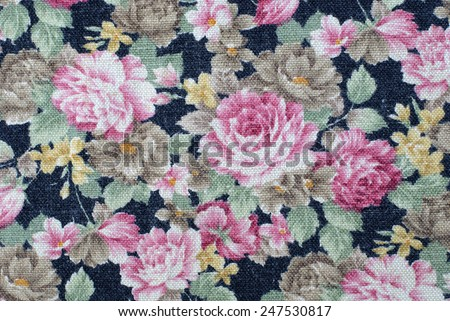vintage cotton linen fabric texture with flowers roses.