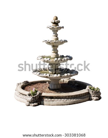 Vintage courtyard fountain isolated on white - stock photo