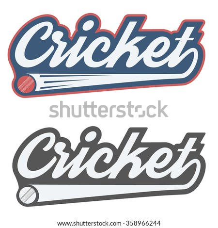 Vintage cricket label and badge. Illustration isolated on white background.