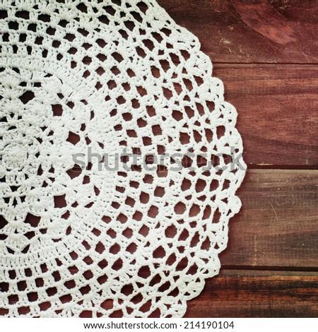 vintage crochet doily - stock photo