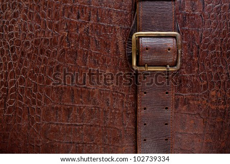 Vintage crocodile leather textured background with buckle - stock photo