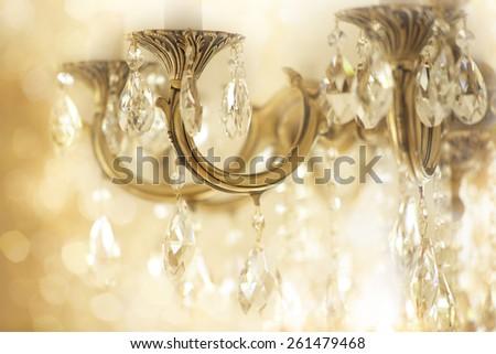 Vintage crystal chandelier details - stock photo