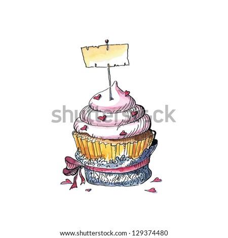 Vintage cupcake (watercolor, ink) - stock photo