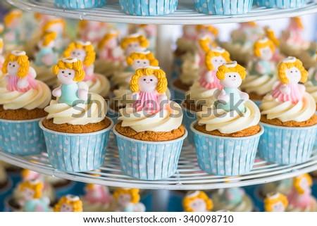 Vintage cupcakes in wedding ceremony - stock photo