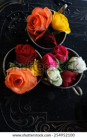 Vintage Cups with Roses - stock photo