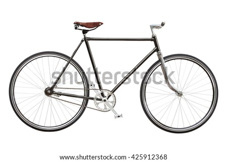 Vintage custom single speed bicycle isolated on white background - stock photo