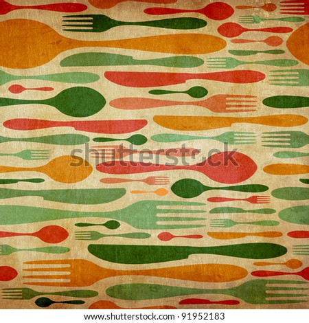 Vintage Cutlery icon seamless pattern background. Fork, knife and spoon silhouettes on different sizes and colors. - stock photo