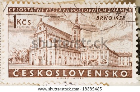 Vintage Czechoslovakian postage stamp with Brno, 1958