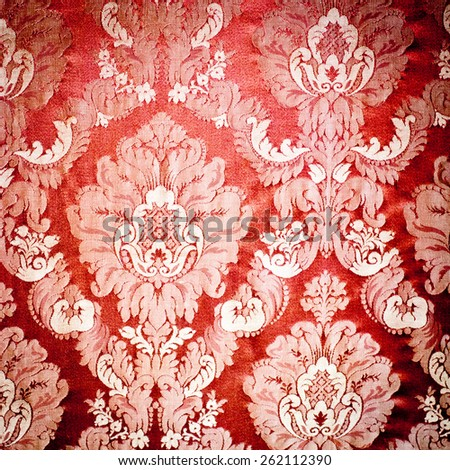 Vintage damask background wallpaper. Red tapestry fabric. - stock photo