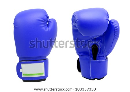 Vintage  dark blue color Boxing gloves Front and Back side with white blackground - stock photo