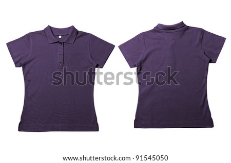 Vintage Dark Purple Female color Polo Shirt with white background Men Front and back Polo Shirt - stock photo