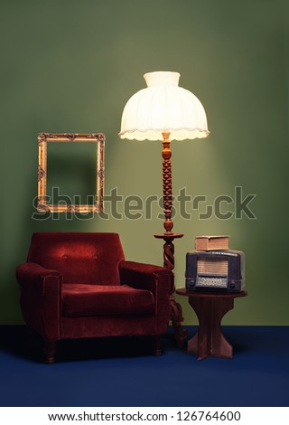 vintage decoration with vibrant colors and antique furniture - stock photo