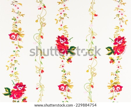 vintage decorative red rose paper background - stock photo