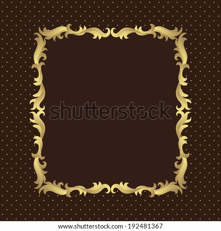Vintage decorative retro frame. Brown and beige