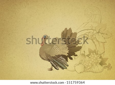 Vintage decorative Thanksgiving background with turkey and cornucopia  - stock photo