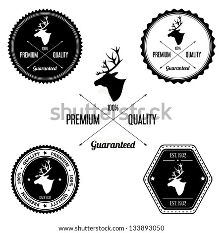 Vintage Deer Badge set - stock photo