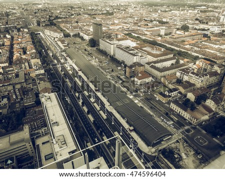 Vintage desaturated Aerial view of the city centre of Turin, Italy