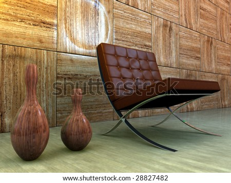 Vintage designer chair with wooden vases and marble-clad interior - stock photo