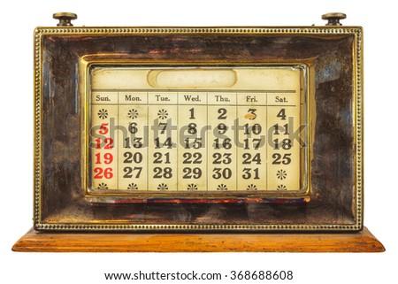 Vintage desktop calendar isolated on a white background - Vintage Calendar Stock Images, Royalty-Free Images & Vectors