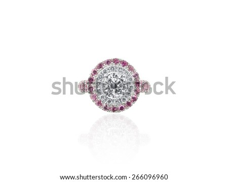 Vintage Diamond and Rubies Solitaire Jewelry Ring isolated on white background - stock photo