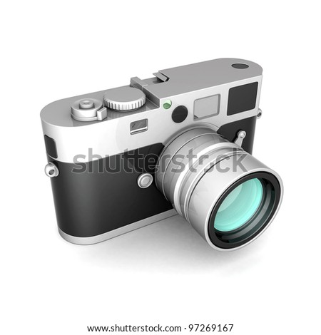 Vintage digital camera on a white background