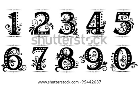 Vintage digits and numbers set with decorations - stock photo