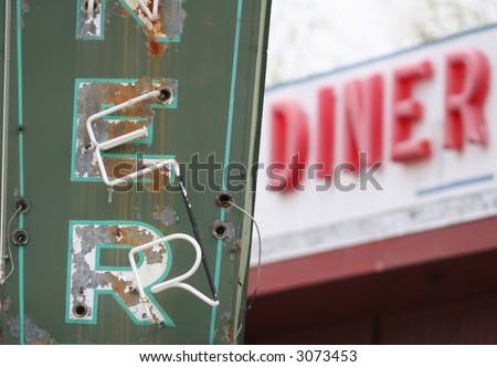 Vintage diner sign - stock photo