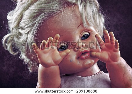 Vintage doll face  - stock photo