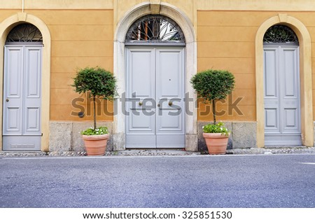Vintage door and two flower pots near wall. - stock photo