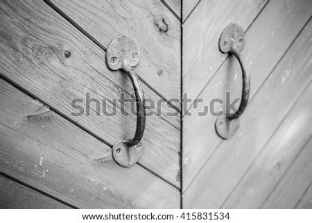 vintage door handle closeup - stock photo