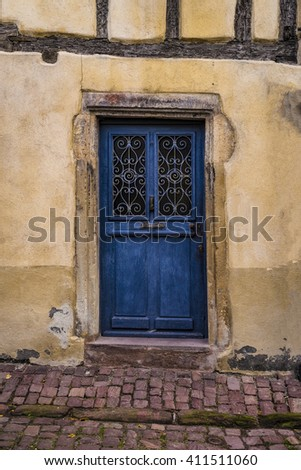Vintage door in Colmar, France, in the Alsace  region - stock photo