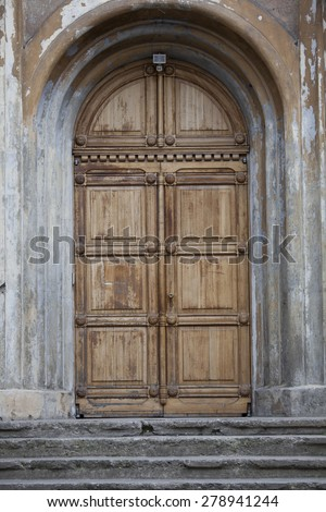 vintage doors with stairs - stock photo
