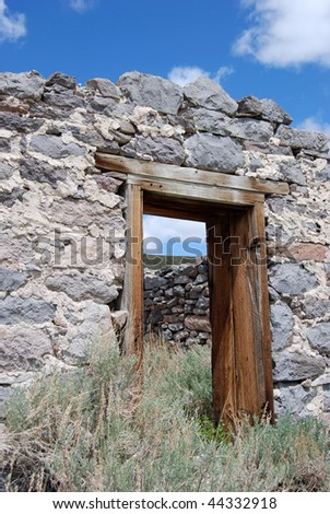 vintage doorway - bodie, california - stock photo