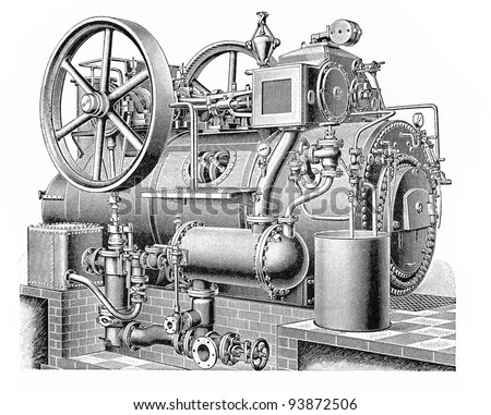 Vintage drawing of a Agriculture - industrial steam engine machine - Picture from Meyers Lexicon books collection (written in German language ) published in 1908 , Germany.