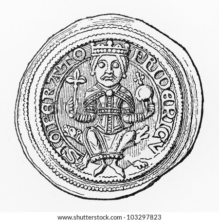 Vintage drawing of a Frederick I Barbarossa Gold medal from (1152-1190) period - Picture from Meyers Lexikon book (written in German language) published in 1908 Leipzig - Germany.