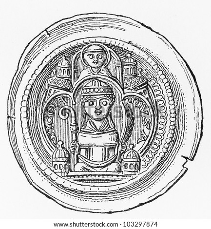 Vintage drawing of a silver bracteate pfennig of Wichmann of Seeburg (1152-1192) - Picture from Meyers Lexikon book (written in German language) published in 1908 Leipzig - Germany.