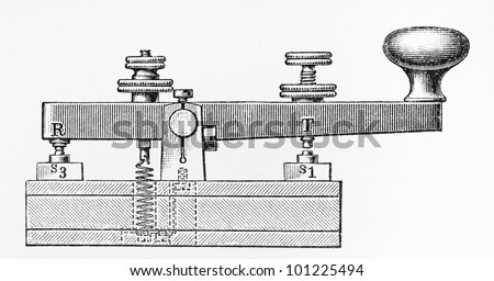 Vintage drawing of a 19th century Morse key pad  - Picture from Meyers Lexicon books collection (written in German language) published in 1908, Germany. - stock photo
