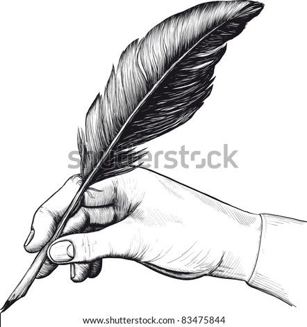 Vintage drawing of hand with a feather pen in style of an engraving. Raster version - stock photo