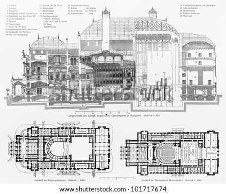 Vintage drawing of Hungarian State Opera House; Drawing from the beginning of 20th century -  Picture from Meyers Lexikon book (written in German language) published in 1908 Leipzig - Germany.