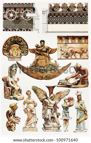 Vintage drawing of Terracottas designs in antiquity; drawing from the end of 19th century - Picture from Meyers Lexicon books collection (written in German language) published in 1908, Germany. - stock photo