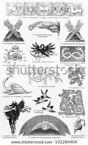 Vintage drawing of various animal ornament statues from 19th century period - Picture from Meyers Lexikon book (written in German language) published in 1908 Leipzig - Germany. - stock photo