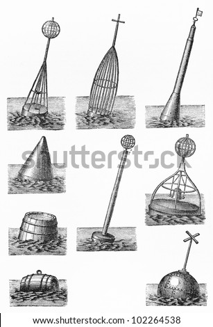 Vintage drawing representing various types of water buoy at the end of 19th century - Picture from Meyers Lexikon book (written in German language) published in 1908 Leipzig - Germany. - stock photo