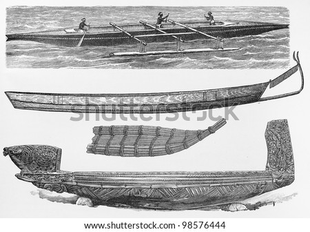 Vintage drawings of traditional small wood boats from the end of 19th century - Picture from Meyers Lexicon books collection (written in German language) published in 1906, Germany. - stock photo