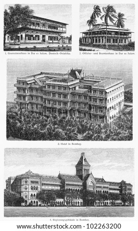 Vintage drawings representing various design of tropical building from the end of 19th century - Picture from Meyers Lexikon book (written in German language) published in 1908 Leipzig - Germany. - stock photo