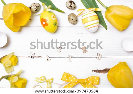 Vintage easter background with eggs and flowers.