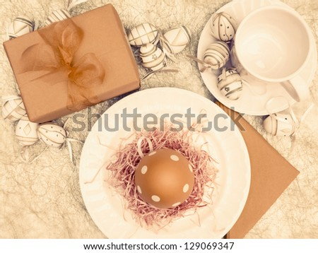 Vintage easter breakfast setting overhead view