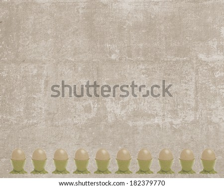 Vintage Easter card with a frame made of cupped eggs  - stock photo