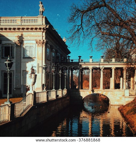 Vintage edited photo of Lazienki or Royal Baths park in Warsaw in Poland - stock photo